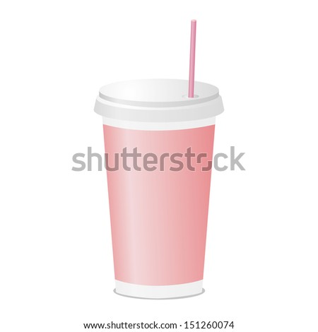 Drinking cup with tube pink color. Plastic fastfood tableware. Vector illustration.