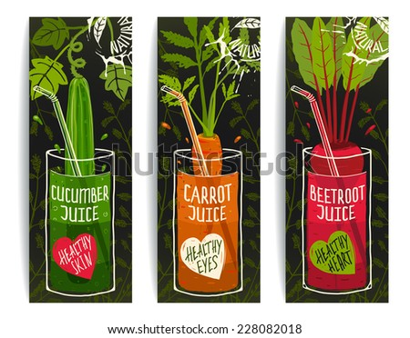 Drinking Diet Vegetable Juice Cartoon Design on Dark with Greens. Colorful vegetable design for juice package. Layered vector EPS8 - stock vector