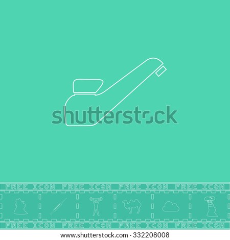 Drinking faucet. White outline flat symbol and bonus icon. Simple vector illustration pictogram on green background - stock vector