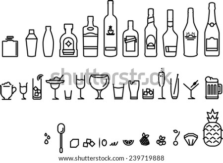 Drinking guide icon set - stock vector