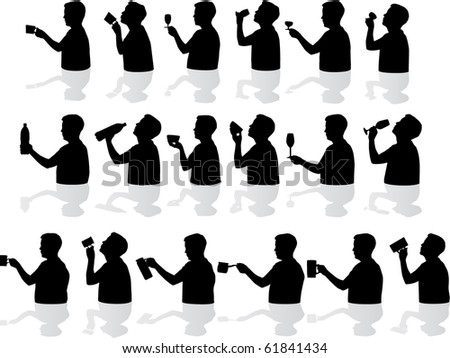 Drinking silhouettes - stock vector