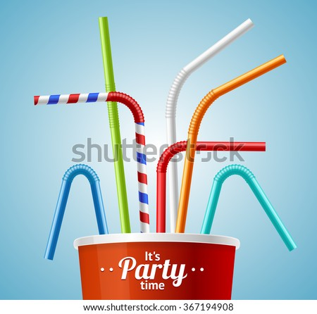 Drinking Straws and Cup Party Placard or Flyer with Inscription. Vector illustration - stock vector