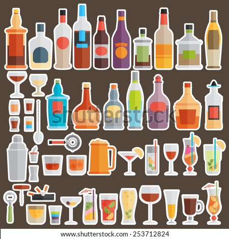 Drinks and beverages icon set - stock vector