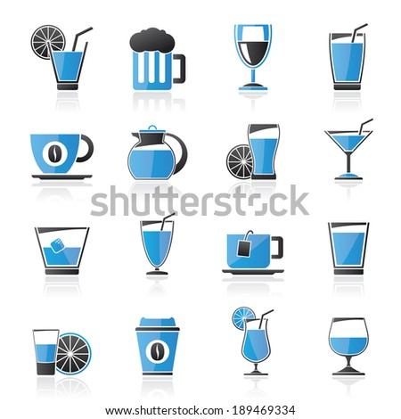 drinks and beverages icons  -vector icon set - stock vector