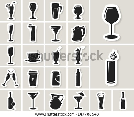 Drinks and beverages vector paper sticker icon set  - stock vector