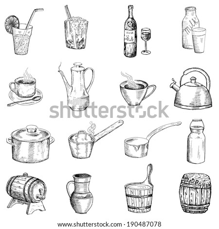 drinks and tableware. set of vector sketches - stock vector