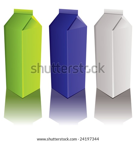 Drinks carton with three colour variations and drop shadow