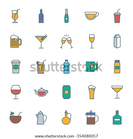 Drinks color icons set