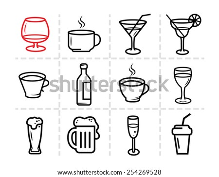 Drinks, Glass and bottles vector stroked icons. - stock vector
