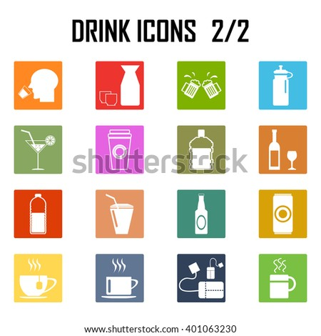 drinks icon set . - stock vector