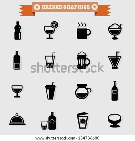 Drinks icon set,vector