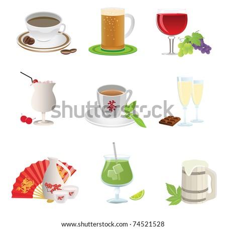 Drinks icon. Set. Vector illustration - stock vector