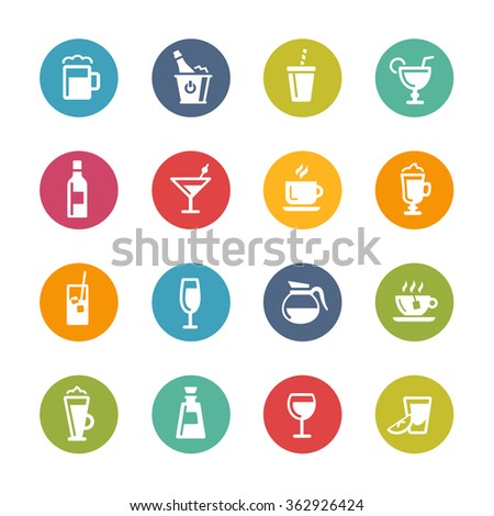 Drinks Icons // Fresh Colors Series ++ Icons and buttons in different layers, easy to change colors ++ - stock vector