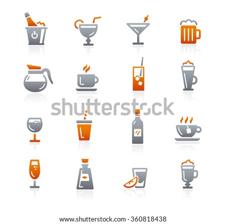 Drinks Icons // Graphite Series - stock vector
