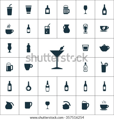 drinks Icons Vector set. drinks Icons Symbol set. drinks Icons Picture set. drinks Icon Image set. drinks Icons Shape set. drinks Icons Sign set icons universal set for web and mobile - stock vector