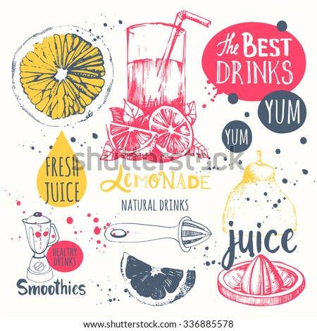 Drinks in sketch style. Useful natural juices and smoothies. Vector funny illustration with lemonade, drinks and kitchen equipment. Detox. - stock vector
