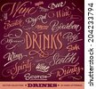 DRINKS menu headlines set of 20 hand letterings -- custom handmade calligraphy, vector (eps8) - stock vector
