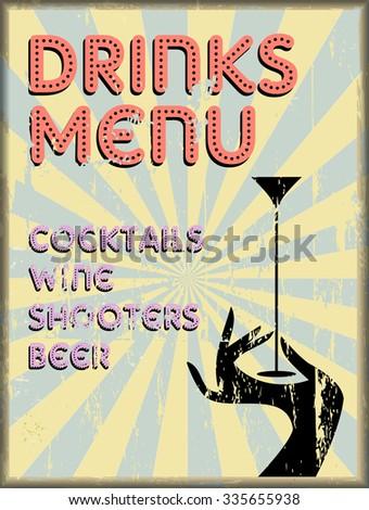 Drinks menu, vintage style, free copy space, vector illustration,fictional artwork - stock vector