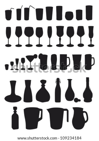 drinks silhouette - glasses and carafe - stock vector