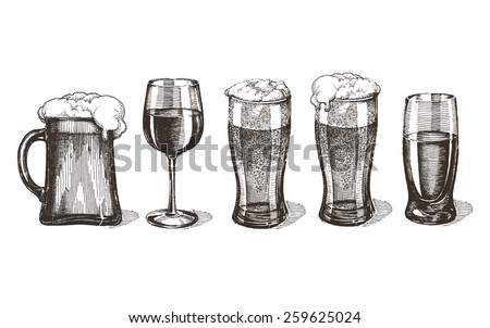 drinks vector logo design template. glasses or alcohol drink icon. - stock vector