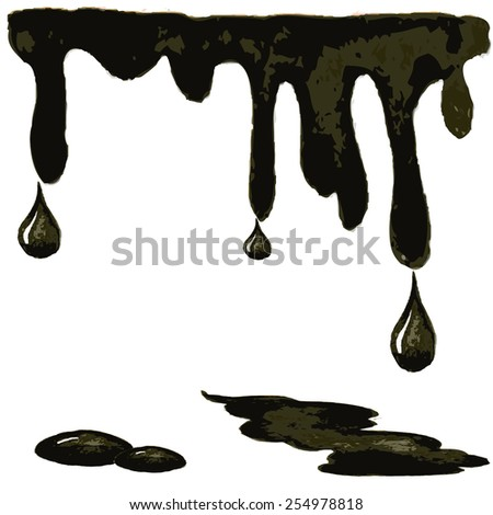 dripping oil droplets in a watercolor style, vector illustration