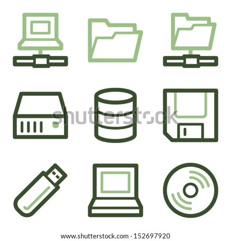 Drive and storage icons, green line contour series - stock vector