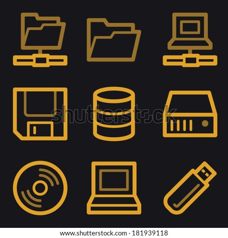 Drive storage web icons, gold line set - stock vector