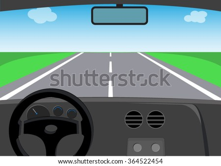 drive view of car on the road - stock vector