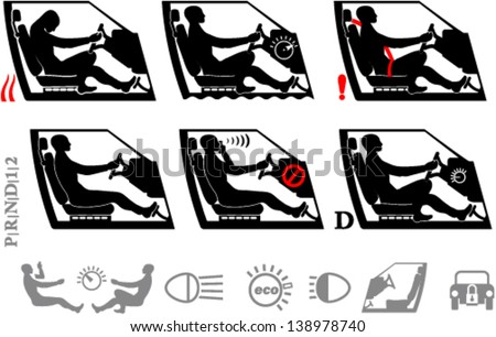 Driver and transportation icons - stock vector