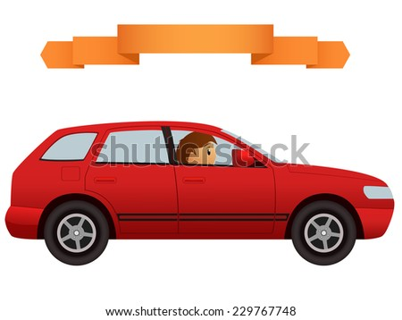 Driver in the modern red car crossover. Vector illustration. - stock vector