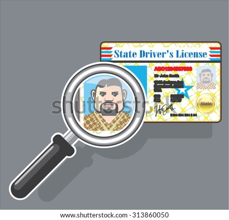 Driver's License under Magnifying glass - stock vector