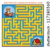 Driver's Maze Game (help the lost driver find his home - Maze puzzle with solution) - stock photo