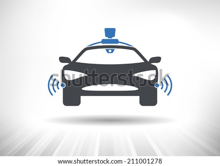 Driverless car icon with roof camera and radar sensor symbols. Front view. Fully scalable vector illustration. - stock vector