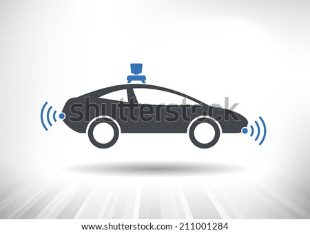 Driverless car icon with roof camera and radar sensor symbols. Side view. Fully scalable vector illustration. - stock vector
