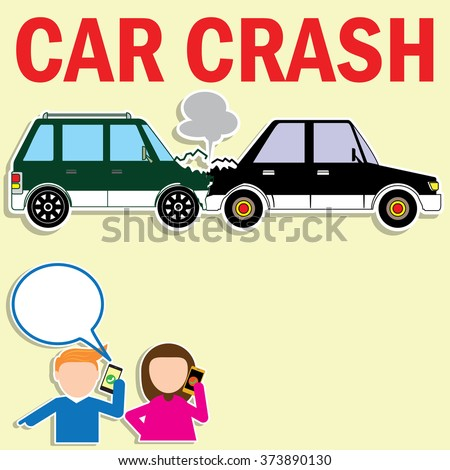 Drivers calling insurance after car accident in vector style - stock vector