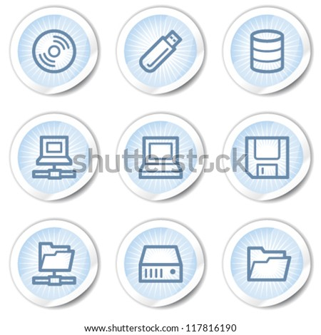 Drives and storage web icons, light blue stickers - stock vector