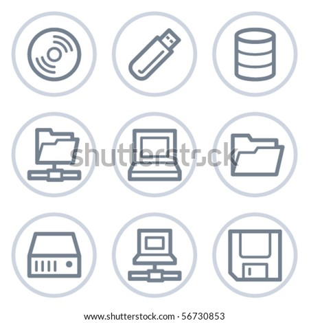 Drives and storage web icons, white circle series - stock vector
