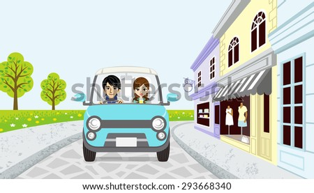 Driving Couple in spring small town, EPS10 - stock vector