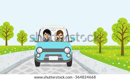 Driving  Couple -spring road -EPS10 - stock vector