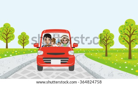 Driving  family - spring road -EPS10 - stock vector