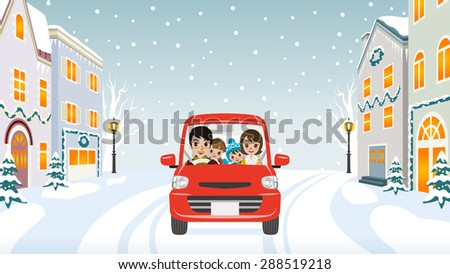Driving Family Winter town -EPS10 - stock vector