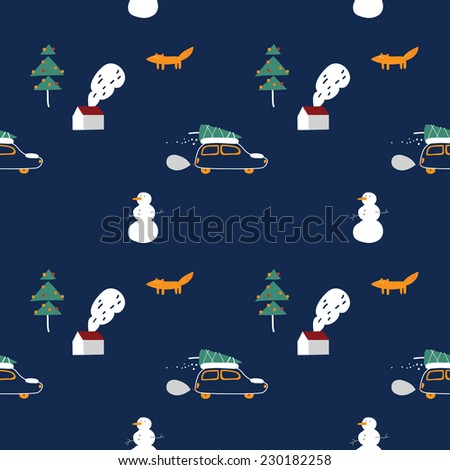 Driving In The Woods At Christmas (seamless pattern) - stock vector