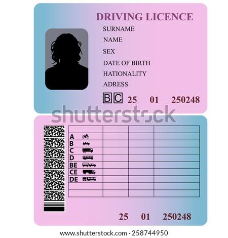 Driving license woman. Vector illustration. - stock vector