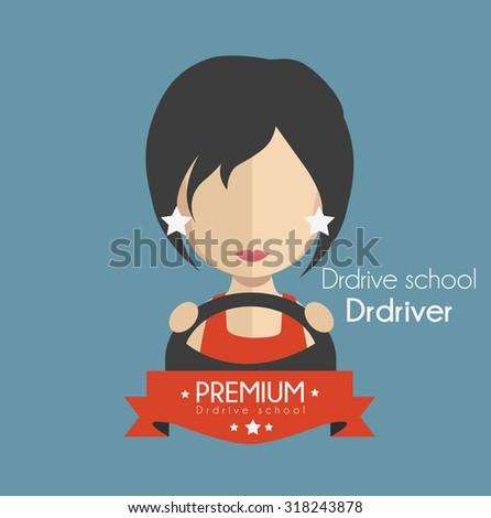 Driving school driver - stock vector