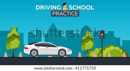 Driving school illustration. Auto. Auto Education. The rules of the road. Practice - stock vector