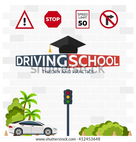 Driving school logo. Driving school illustration. Auto Education. The rules of the road - stock vector