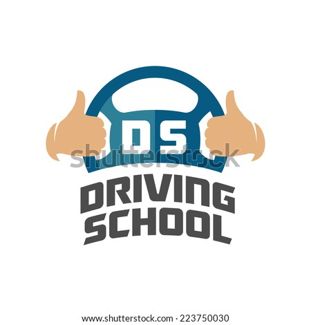 Driving school logo template. Steering wheel with thumbs up hand - stock vector