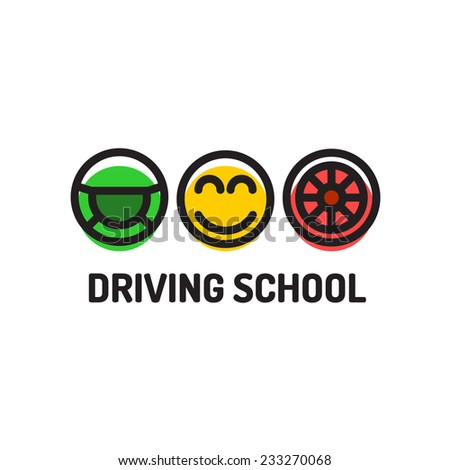 Driving school logo template. Symbols of driving wheel, smiling face and car wheel. - stock vector