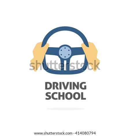 Driving school logo vector template, hands holding sport steering wheel icon, flat trendy cartoon symbol design isolated on white background sign - stock vector