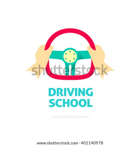Driving school logo vector template, hands holding sport steering wheel icon with text, flat trendy cartoon symbol design isolated on white background sign - stock vector